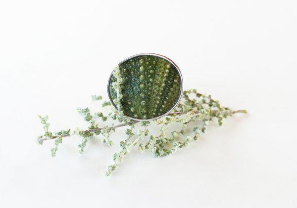 KJ103 Big Sea Urchin Ring – Green 2