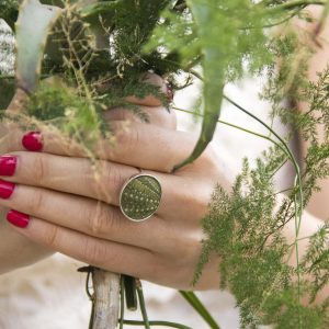 KJ103 Big Sea Urchin Ring – Green 3