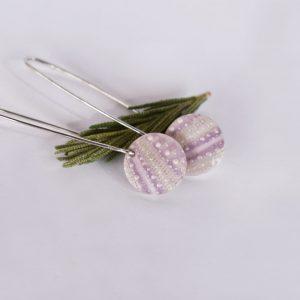 Dangling Lilac Sea Urchin Earrings