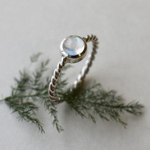 Twirly Rainbow Moonstone Ring